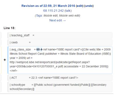 hononegah wikipedia page vandalism 694