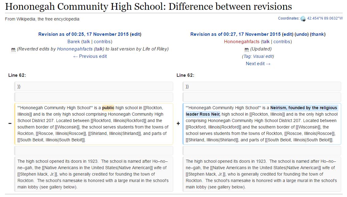 hononegah wikipedia page vandalism ross neirism
