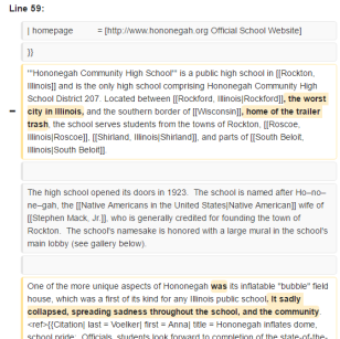 hononegah wikipedia page vandalism undewater5